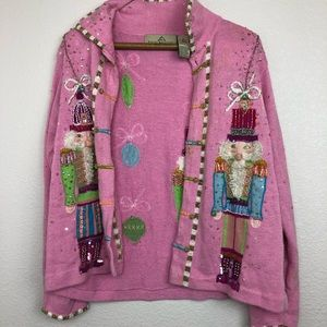 Vintage design options pink nutcracker cardigan